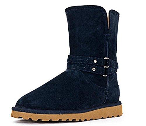 Botas de tobillo de nieve caliente de las mujeres de largo tubo más zapatos de algodón caliente de terciopelo treasure blue