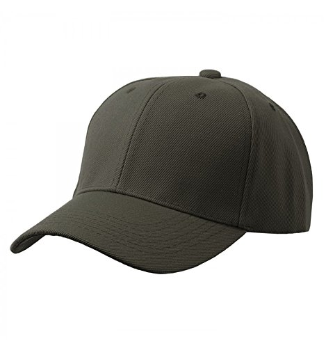 Olive Hat Baseball (Baseball Plain Cap Olive Adjustable Size)