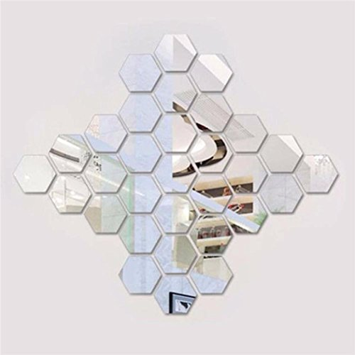 CNlinkco Mirror 12 Piece Hexagon Acrylic Mirror Wall Stickers Wall Decor Home Decoration (Type3 Silver(Big)) (Sticker Decorations)