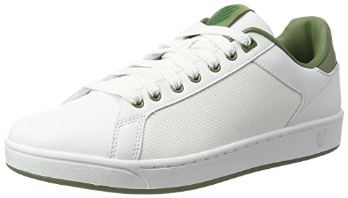 K-Swiss Men's Clean Court CMF Low-Top Sneakers, White Black, 11 UK White (White/Olivine)