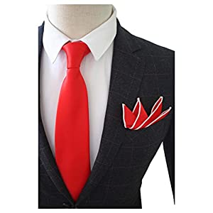 "JEMYGINS 3.5"" Solid Color Necktie Tie and Pocket Square Set for Men - Various Colors"