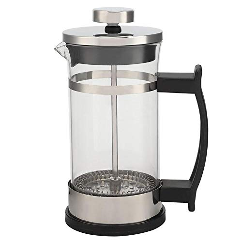 Coffee Tea Maker Pot with Handle, Stainless Steel Glass Coffee Pot French Press Filter Pot Household Tea Maker