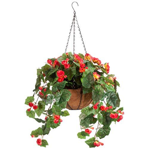 OakRidge Miles Kimball Fully Assembled Artificial Begonia Hanging Basket, 10