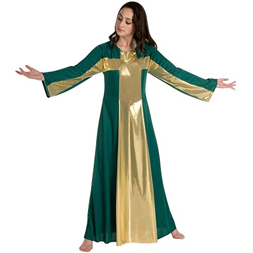 (Body Wrappers 513 / 513XX Womens Praise Dance Cross Components Robe (3X, Kelly Green w/ Gold))