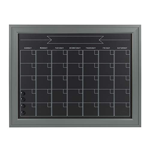 DesignOvation Bosc Framed Magnetic Chalkboard Monthly Calendar, 23.5x29.5, Gray