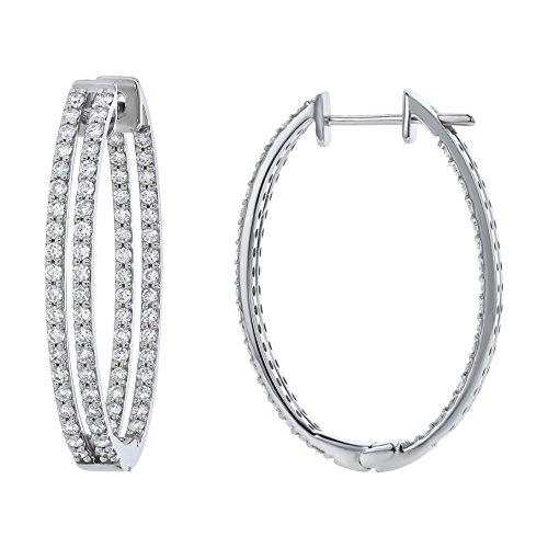 Olivia Paris Certified 14k White Gold Diamond Double Hoop Earrings (2.00 cttw, H-I, SI1-SI2), 1.29