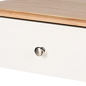 Kate and Laurel Sophia Rustic Wood Top Nightstand Side Table with Drawer and Shelf, White