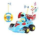 OCDAY Remote Control Cartoon Race Car Toy with Lights and Sound for Kids Toddlers