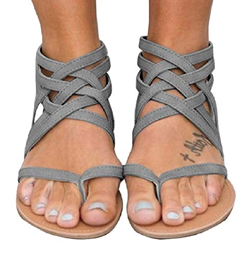 (Blivener Women's Casual Gladiator Sandals Summer Zipper Strappy Thong Flats Shoes GREY39)
