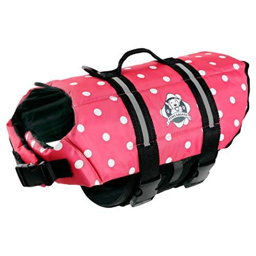 Designer Dog Life Jacket in Pink Polka Dot Size: Medium (Dogs 20 - 50 -