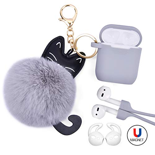 Airpods Case - Airspo Case for Airpods Silicone Case Cover Compatible with Apple Airpods 1/2 Protective Skin with Fur Ball Keychain/Magnetic Strap/Ear Hooks (Light Grey)