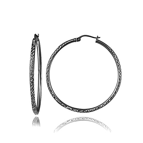 Black Flashed Sterling Silver 2mm Diamond Cut Round Hoop Earrings, 25mm (Diamond Black Loop Earrings)
