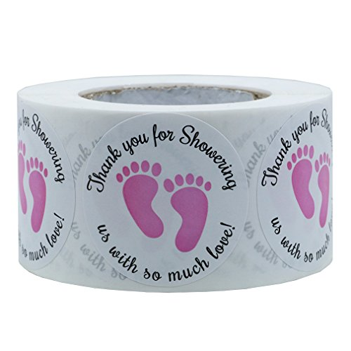 Hybsk 1.5 Inch Round Baby Shower Stickers, Thank You for Showering Us with So Much Love Blue Foot Print (Pink Footprint)]()