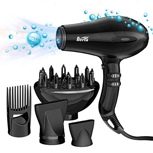 BERTA 1875w Negative Ion Professional Hair Dryer, Fast Drying Lightweight Blow Dryer For Maximum Shine With 2 Speeds 3 Heat Settings Cool Shot Button Plus 4 Hair Dryer Accessories,Black