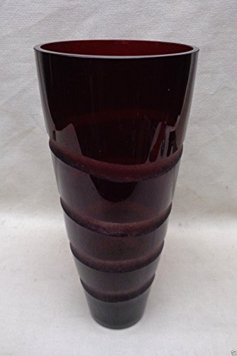 """Stunning Vintage Ruby Colored Glass Vase with Wave Pattern- 14"""" Tall POLAND"""