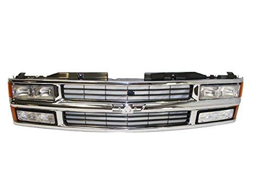 Bundle 94-99 Chevy C/K Pickup Suburban Composite Grille Chrome/Black Headlight Park Light 9Pc ()