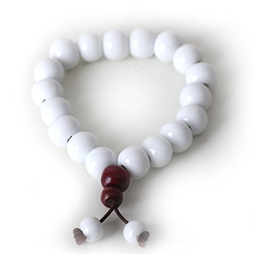 le Elegant Lover Handmade Ceramic Buddha Beaded Bracelet White ()