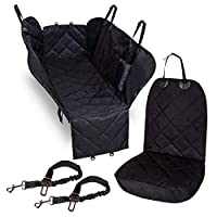 PetHonesty Full Dog Seat Cover Car Seat Set for Pets - Travel Hammock Side Flaps 600D Heavy Duty Large Back Seat Cover, Front Seat Cover & 2 Pet Seat Belts - Waterproof Non-Scratch Cover for SUV/Truck