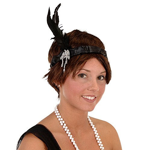 20's Showgirl Flapper Beaded BLACK Silky Headband w/ Feather (Las Vegas Show Girls Halloween Costumes)