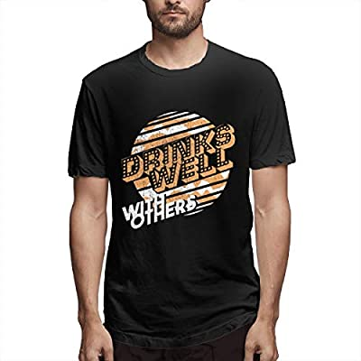 NINGFEI Men's Drinks Well with Others5 Short Sleeve T Shirts Black