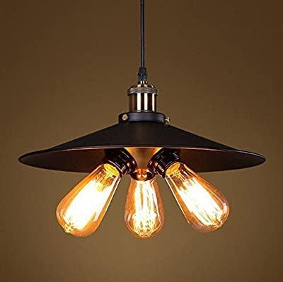 Fuloon Matte Black Industrial Metal Hanging Pendant Light Shade 3*60W(bulb not included)