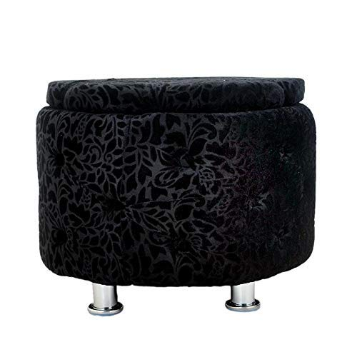 ASP WORLD Puffy Sitting Stool Black Designer Pouffe Cushioned Stool for Living Room Office Kitchen Puffy Stool (Black - color) Mudda