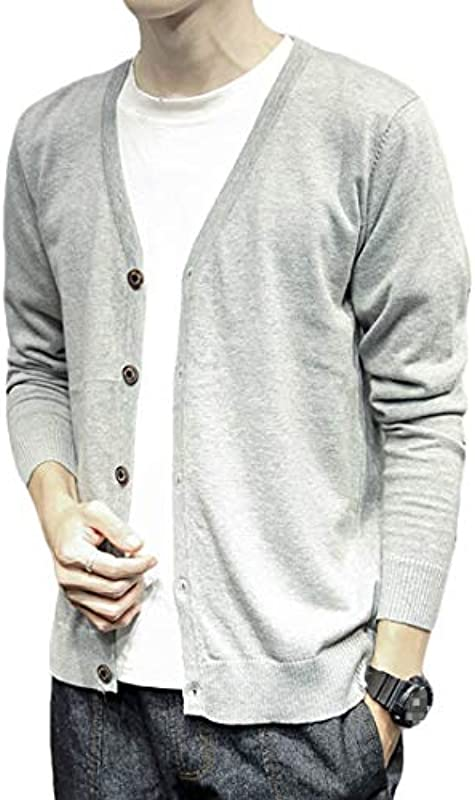 H&E Men Button Front Loose Open Front V-Neck Long Sleeve Knit Cardigan Coat: Odzież