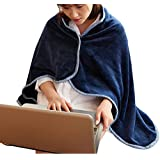Mvchif Wearable Blanket Soft Fleece Shawl Button Closure Warm Snuggle Throw for Office Sofa Snap 27x42inches (Navy)