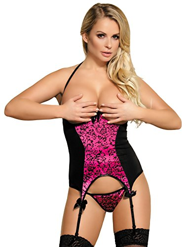 ohyeahlady Women Plus Size Lingerie Open Bust Bustier Faux Leather Lingerie Babydoll Dress with Garter Belt and G-string Black US 16-18