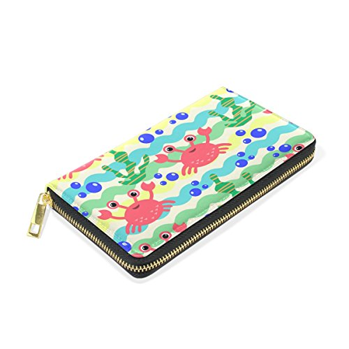 Zip And Fish Handbags Around And Marine Wallet Organizer TIZORAX Cartoon Womens Clutch Algae Purses RSntPvwx