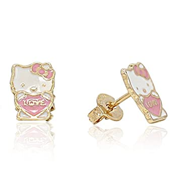 12e9f8d4e Amazon.com : REAL BARGAIN!!! NEARLY OUT OF STOCKl!!! GF 18k Pink Love Hello  Kitty Earrings Enamel Girl Teens Push Back Stud in : Beauty