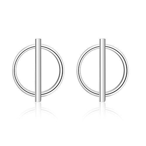 - Sterling Silver T-bar Ring Stud Earrings