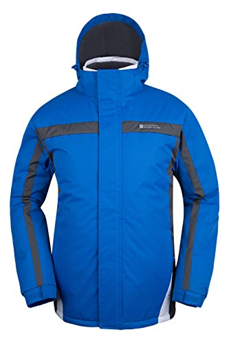Mountain Warehouse Dusk Mens Ski Jacket - Water Resistant Winter Coat Blue X-Small