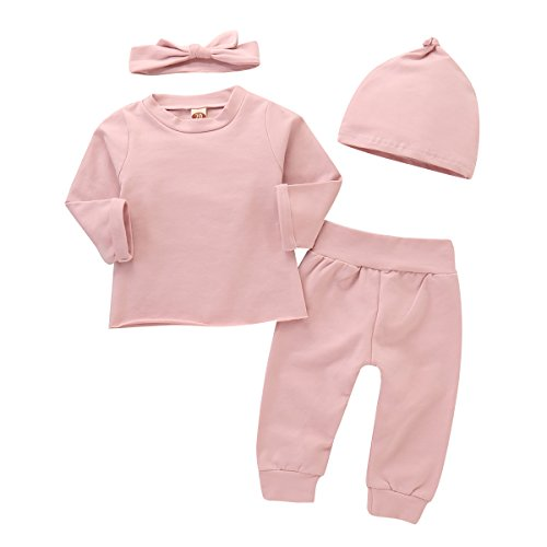 Le Top Cotton Romper - 4Pcs Infant Baby Girls Pink Romper Long Sleeves Cotton Top+Pants+Headband+Hat Outfits Set 0-24M
