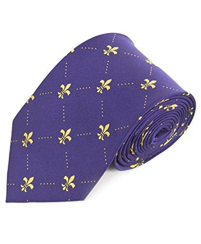 Gentleman's Fleur de Lis Pattern Necktie,One Size,Purple & Gold