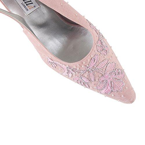 FARFALLA Embroidered Slingbacks (Pink, 4UK/37EU)