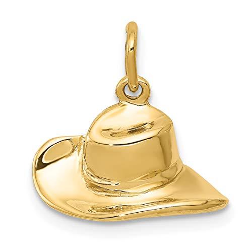 Mireval 14k Yellow Gold Cowboy Hat Charm (15.5 x 14.5 mm) ()