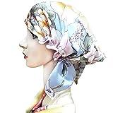 Zando Women's Soft Satin Lined Hat Pure Silk Night Sleeping Cap Hair Wrap Turban Hat Beanie Satin Bonnet Printed B-Color One Size