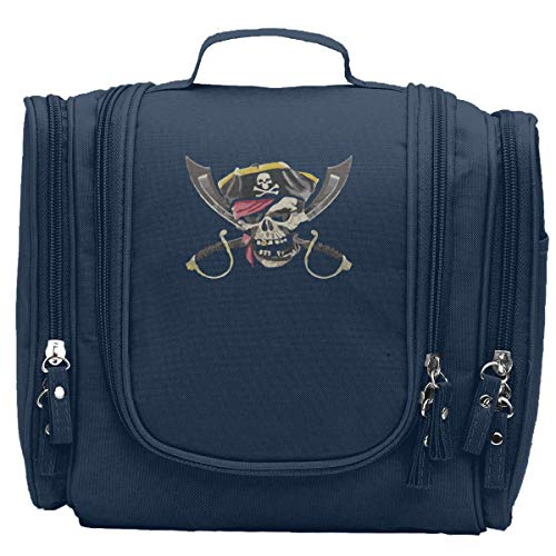 SSCDGG Pirate Skull Crossed Swords Travel Cosmetic Makeup Bag For Women & Shaving Kit Organizer Bag For Men -