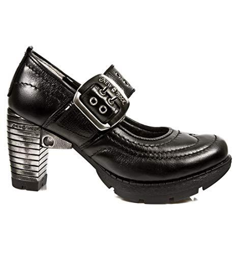 Gotico Punk tr012 Zapatos Piel Chica Mujer Negro s1 Cuero New Rock Tacón M Heavy aw1qE1PO