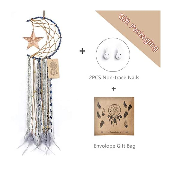 Dremisland Blue Dream Catcher Handmade Half Circle Moon Design Dream Catcher Feather Hanging with Star Home Decoration… - Material: Metal circle, Wood beads, Natural feather, cotton Lace,Vintage Star Diameter size:20m/8 inch, total length:64cm/25inch Unique Star design Creates a festive and cheerful atmosphere for the room. - living-room-decor, living-room, home-decor - 41Gqxhe1ZhL. SS570  -