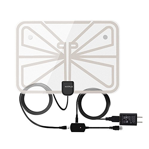 TV Antenna,2018 Upgrade Digital TV Antenna Best 50+ Miles Range with Amplifier Signal Booster for Indoor,UL USB Power Supply and 16.5FT High-Performance Coax Cable-1080P 4K Ready for FUN-Transparent ()