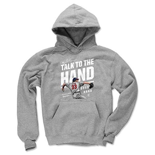 500 LEVEL Brad Hand Cleveland Baseball Hoodie Sweatshirt (Large, Gray) - Brad Hand Talk to The Hand W WHT