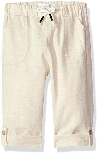 Mud Pie Baby Boys Faux Linen Drawstring Waist Pants, Brown, 4T]()