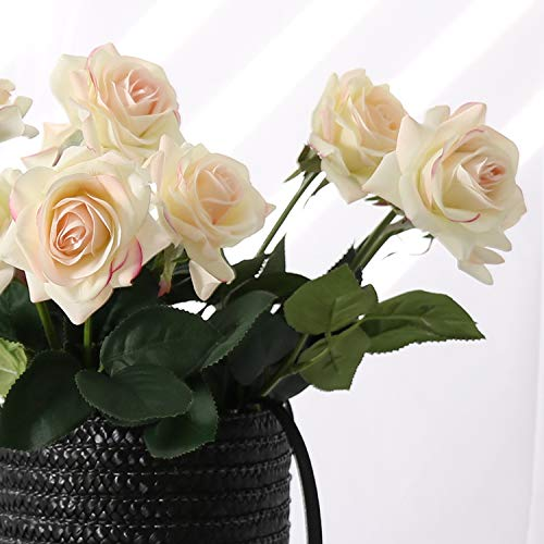 N YONGNUO 12pcs Latex Moisturizing Roses of Real Touch Natural Artificial Flowers Open White Roses Realistic Color for Wedding/Home Decor or As a Gift to Wife/Mother/Friend?19 Inch-Milk White