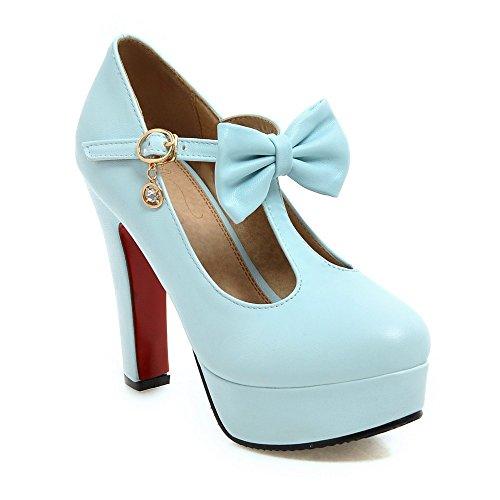 Women's Shallow Pumps Platform Heels Party Blue Block Heels Nightclub Shoes High Mouth Lsm gxTaSZ