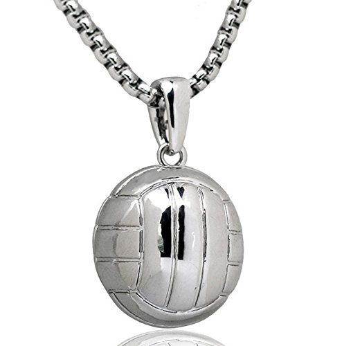 Silver Mens Volleyball (UU March Fashion Girls Boys sports Jewelry Basketball/Football/Volleyball/Soccer/ Pendant Hip Hop Sports Necklace Stainless Steel Chain Fitness Jewelry (Volleyball-Silver))