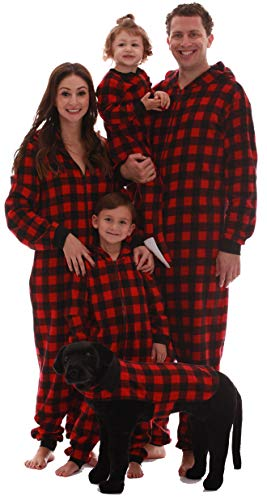 #followme Family Pajamas Buffalo Plaid Microfleece Womens Adult Onesie 6755-10195-M