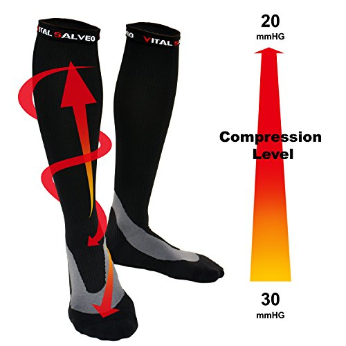 Vital Salveo- Athletic Germanium 20-30mmHg Arch Support Compression Socks for Running, Traveling, Calf Soreness and Varicose Veins(One Pair)(Medium)