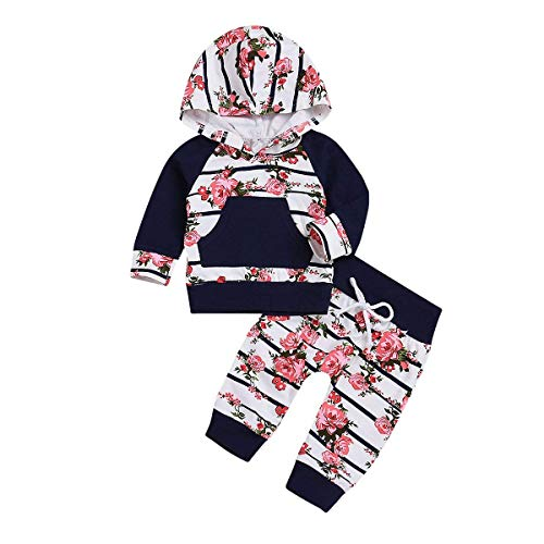 Girls Striped Hoodie - Newborn Baby Girl Outfits Florals Hoodie Top with Pocket Striped Long Pants 2Pcs Clothes Set (0-6 Months)
